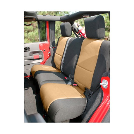 Rear Seat Cover Neoprene Light Tan Smittybilt - Jeep Wrangler JK 4D 13-15