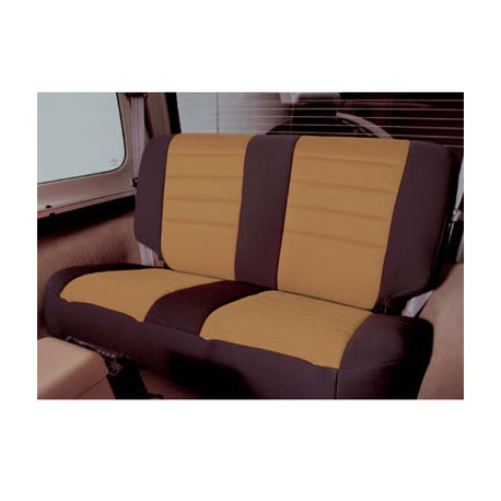 Rear Seat Cover Neoprene Tan-Black Smittybilt - Jeep Wrangler JK 4D 08-12