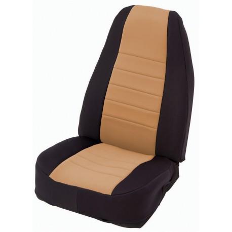Front Seat Covers Neoprane Tan-Black Smittybilt - Jeep Wrangler TJ 97-02
