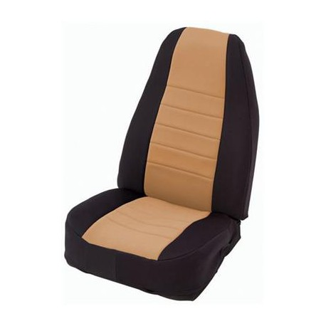Front Seat Covers Neoprane Tan-Black Smittybilt - Jeep Wrangler YJ 91-95
