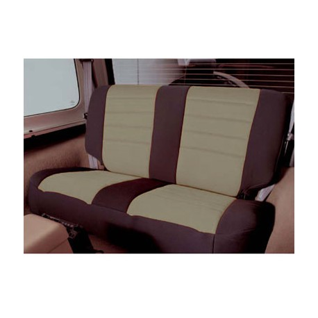 Rear Seat Cover Neoprene Tan-Black Smittybilt - Jeep Wrangler YJ