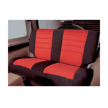 Rear Seat Cover Neoprene Red-Black Smittybilt - Jeep Wrangler YJ