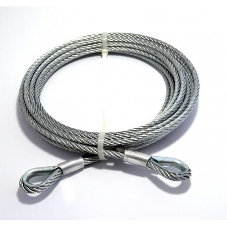 Tažné ocelové lano 6 m 10 mm, 2x oko s očnicemi