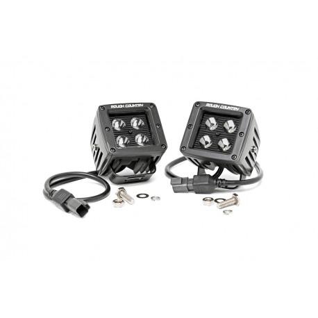 Reflektory LED CREE kwadratowe czarny panel Rough Country (para)